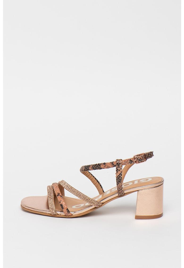 Sandale de piele cu aplicatii din strasuri Belk