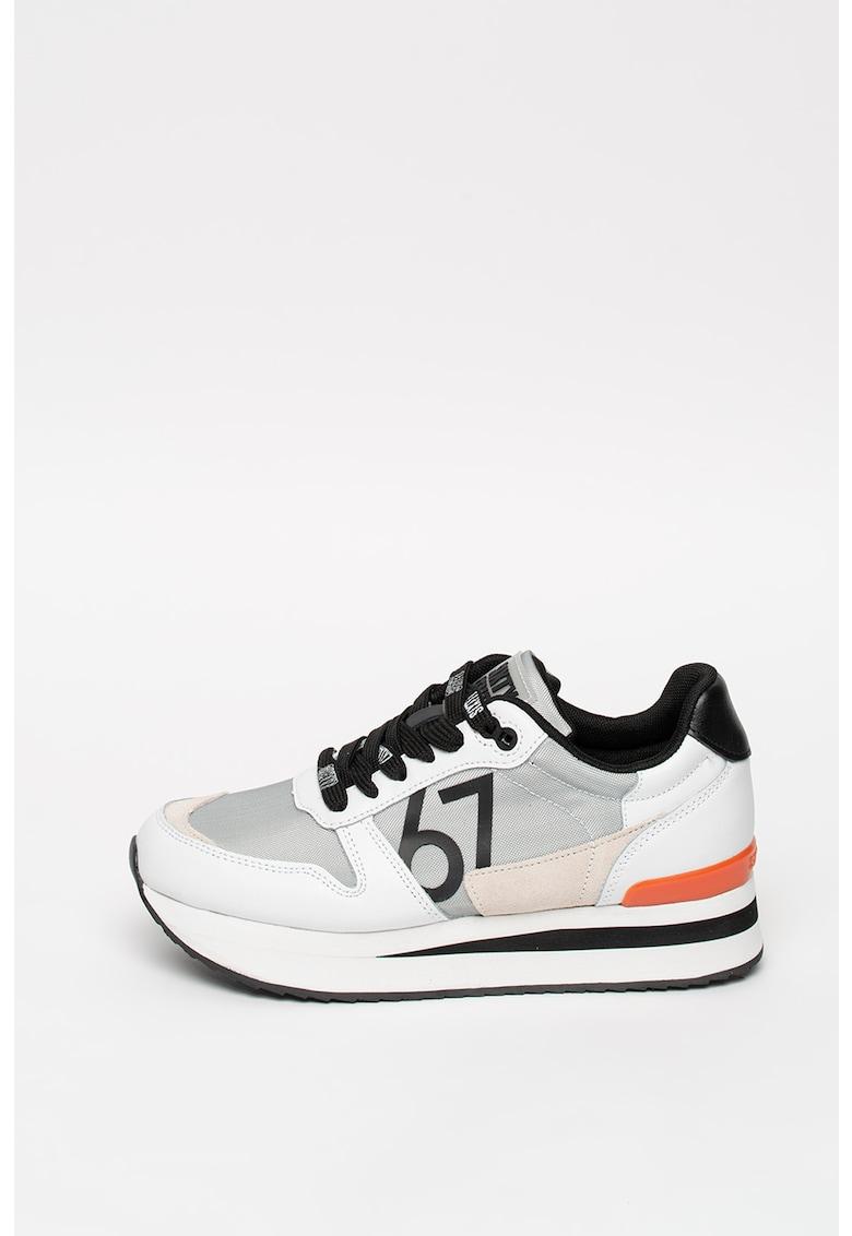 Pantofi sport de piele cu insertii de piele ecologica