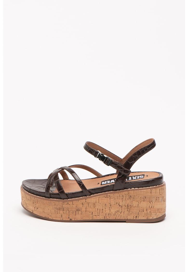 Sandale wedge de piele ecologica Yeko