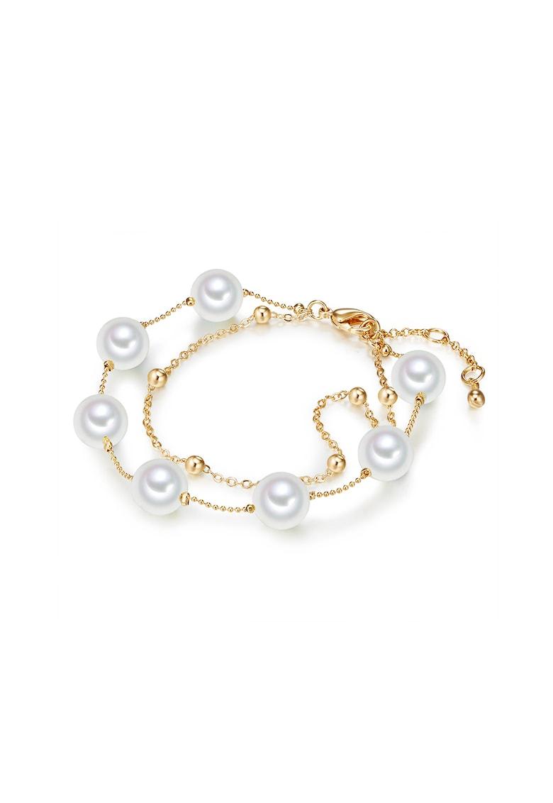 Bratara cu doua siraguri - decorata cu perle organice imagine promotie