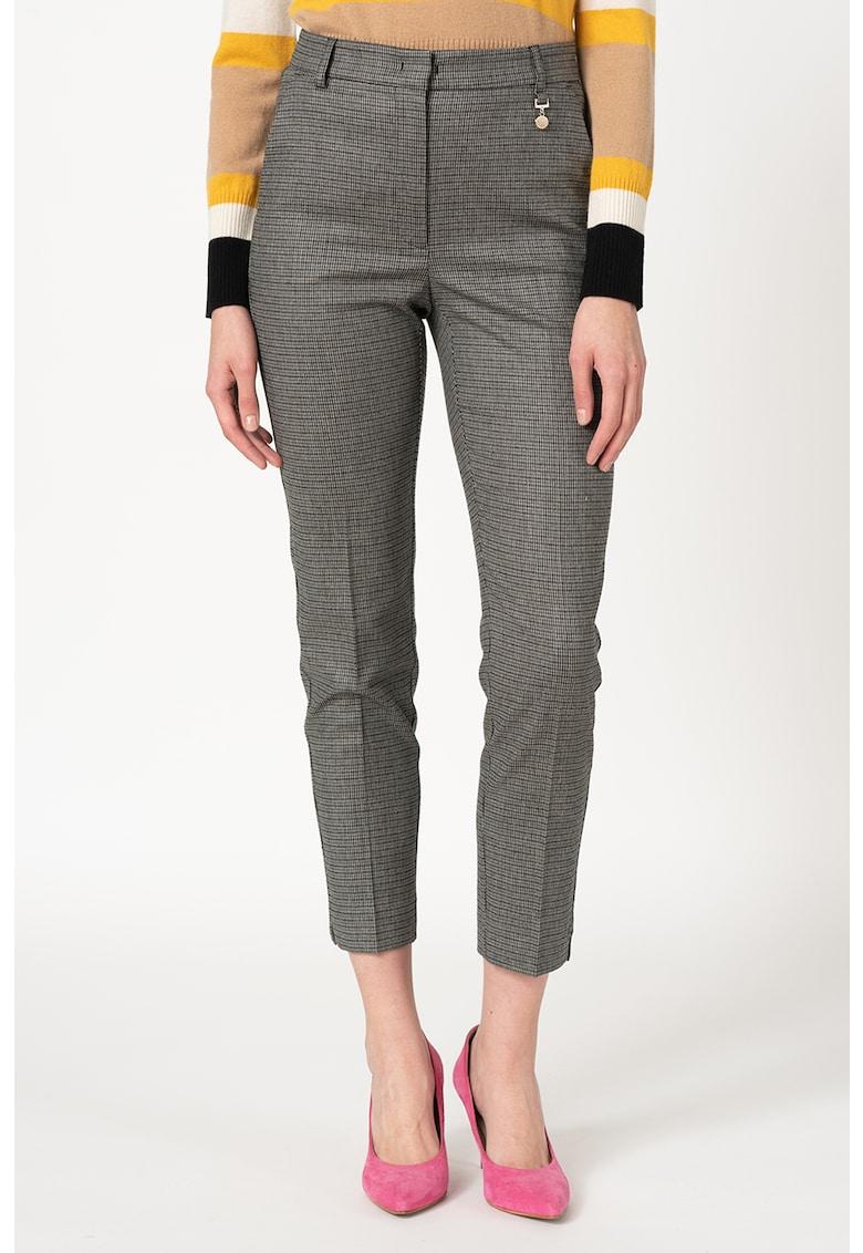 Pantaloni din amestec de lana cu model microhoundstooth Laterale