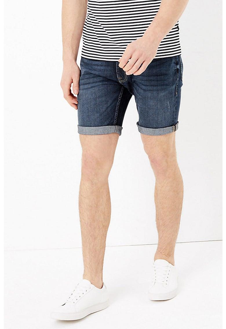 Pantaloni scurti slim fit elastici din denim