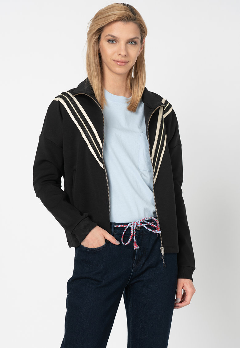 Bluza sport cu fermoar si garnituri contrastante