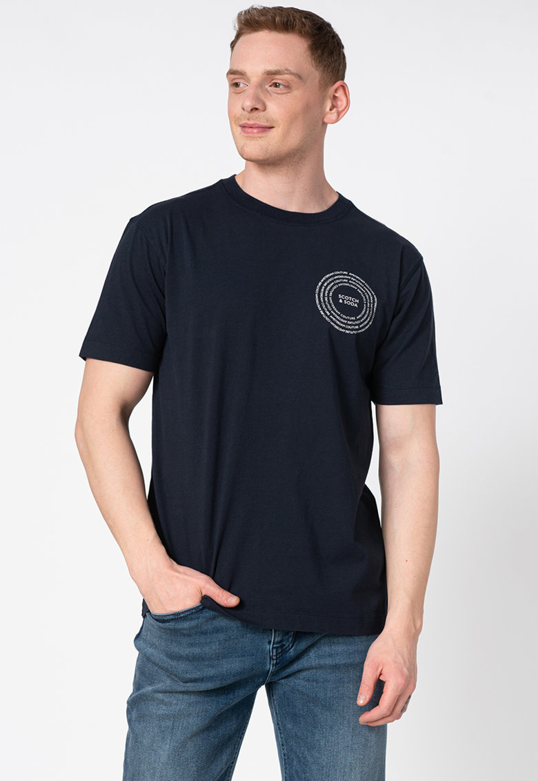 Tricou din bumbac organic cu decolteu la baza gatului si detaliu logo pe piept