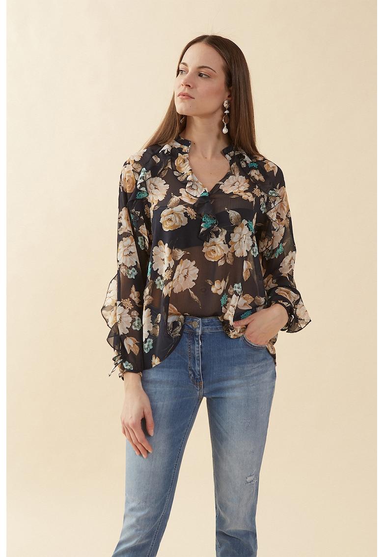 Bluza transparenta cu imprimeu floral