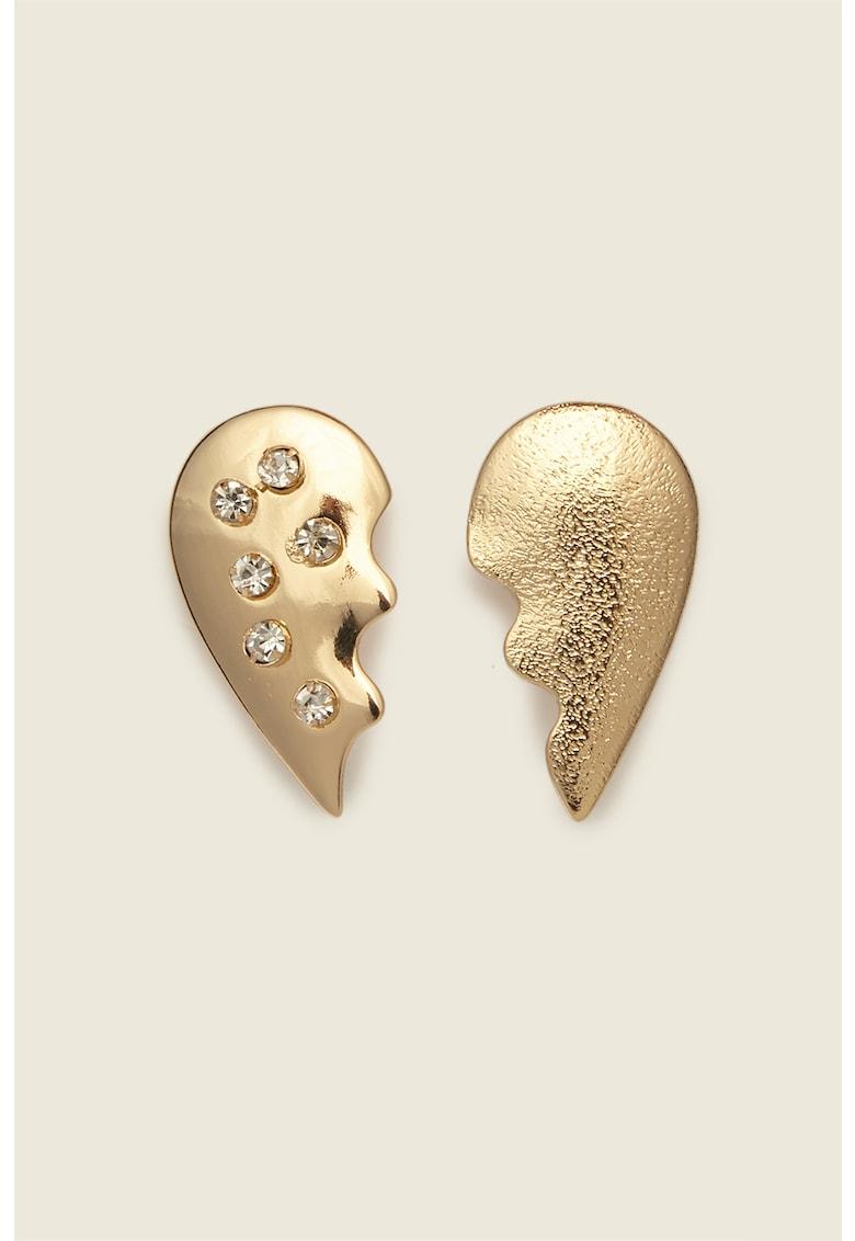 Cercei in forma de inima decorati cu cristale imagine promotie