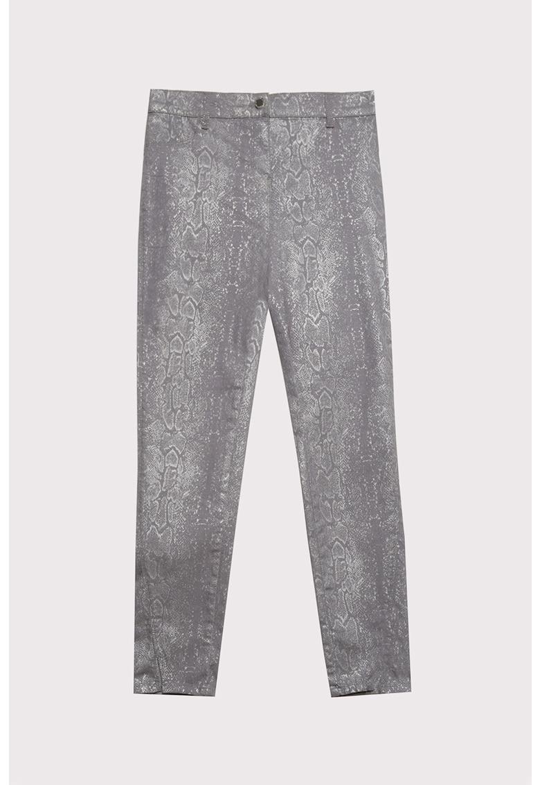 Pantaloni skinny cu aspect de piele de sarpe