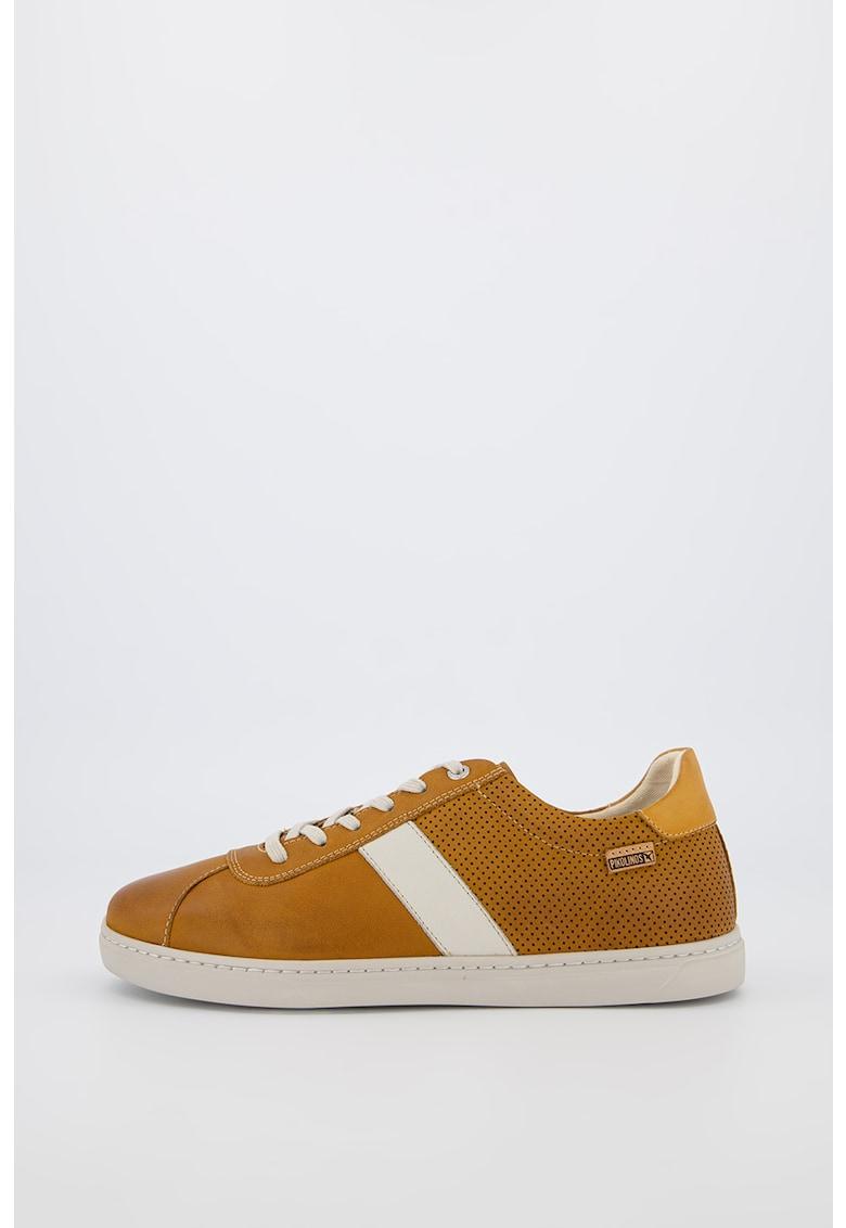 Pantofi sport din piele cu garnituri contrastante Mostaza 1