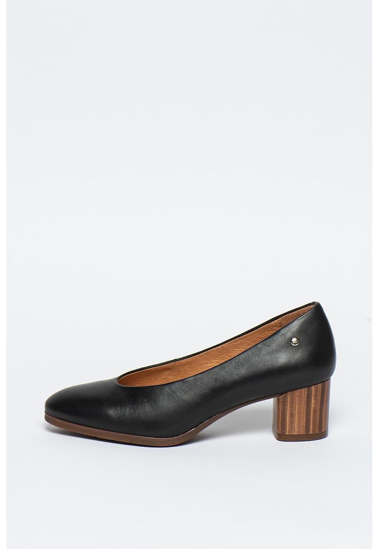 Pantofi din piele cu toc masiv Calafat