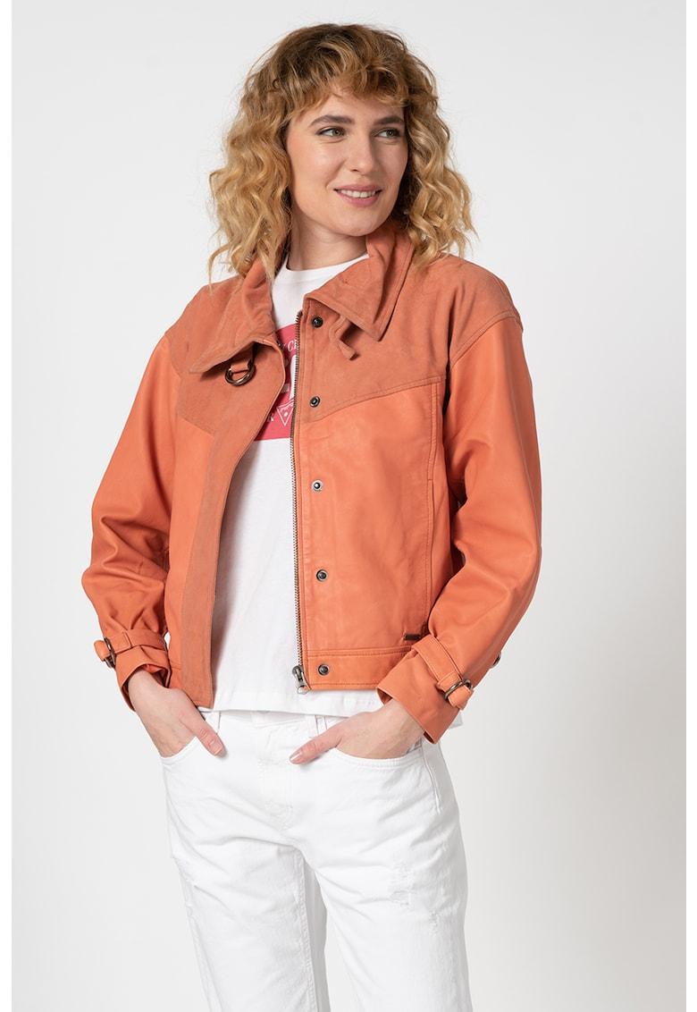 Jacheta biker din piele cu terminatii din piele intoarsa Paulette