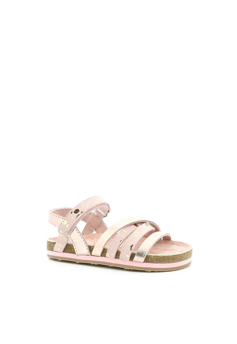Sandale de piele cu aspect metalizat