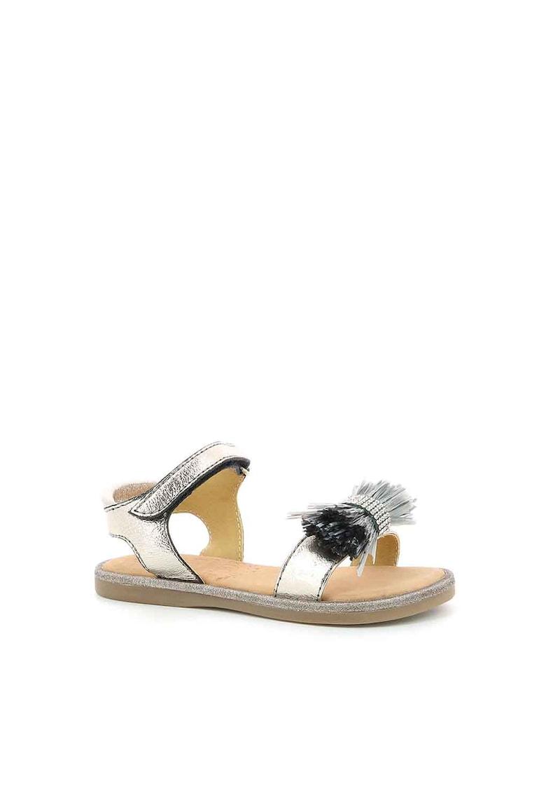 Sandale de piele si piele ecologica cu aspect metalizat