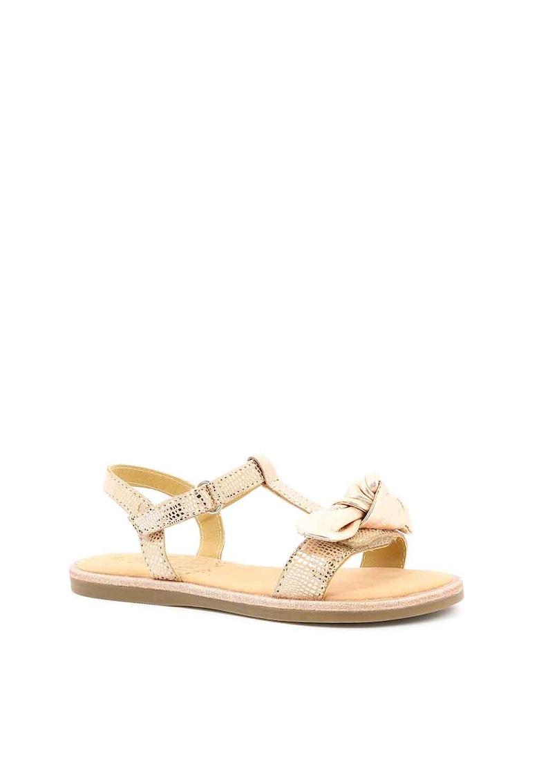 Sandale de piele cu funda