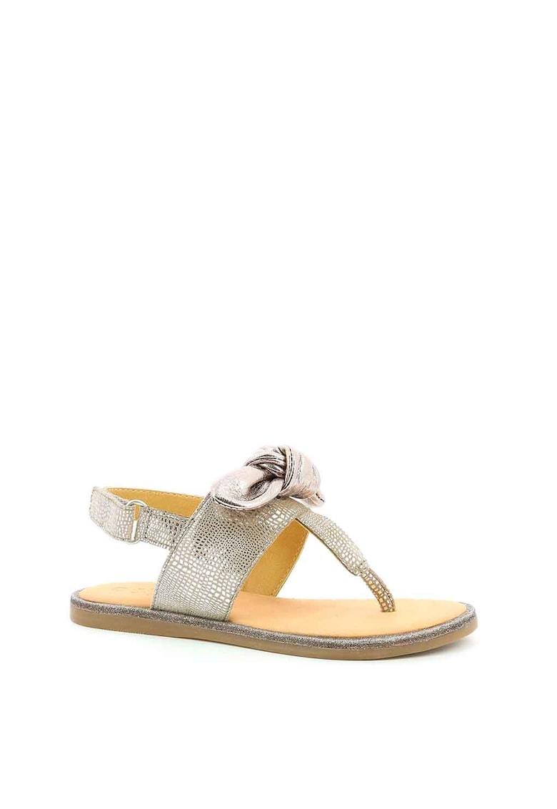 Sandale slingback de piele cu aplicatie cu funda