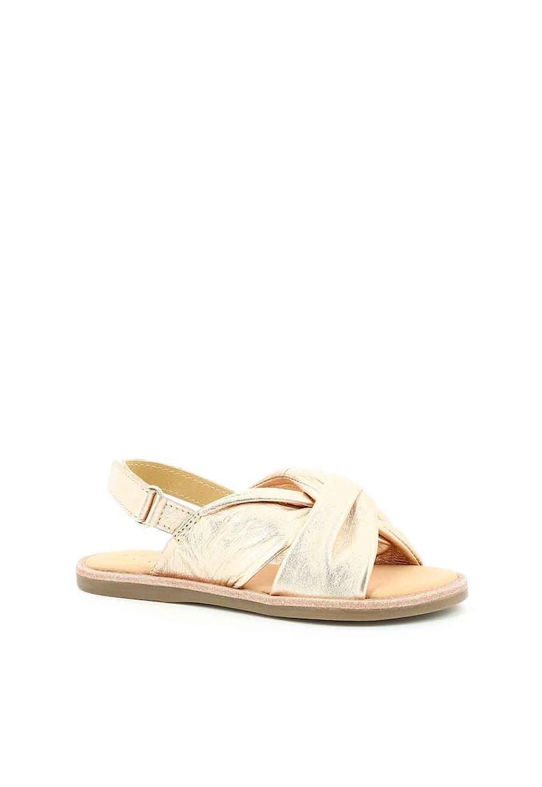 Sandale de piele cu aspect metalizat imagine