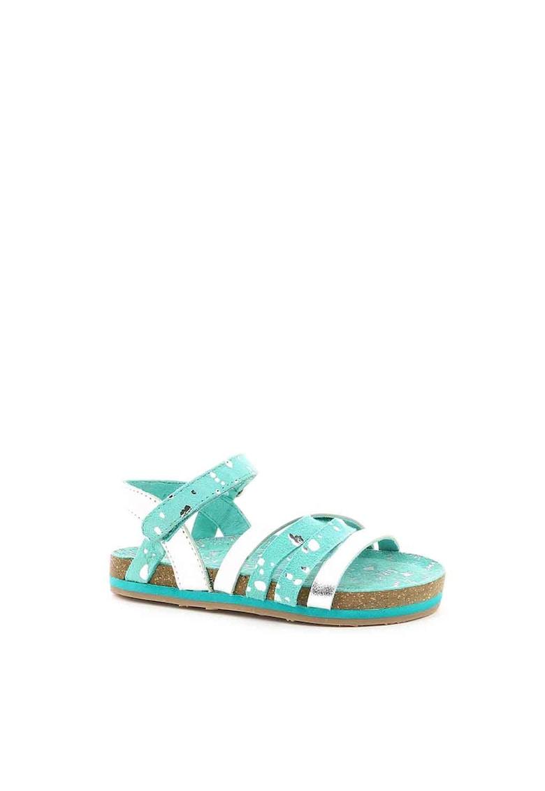 Sandale de piele intoarsa cu accente metalizate