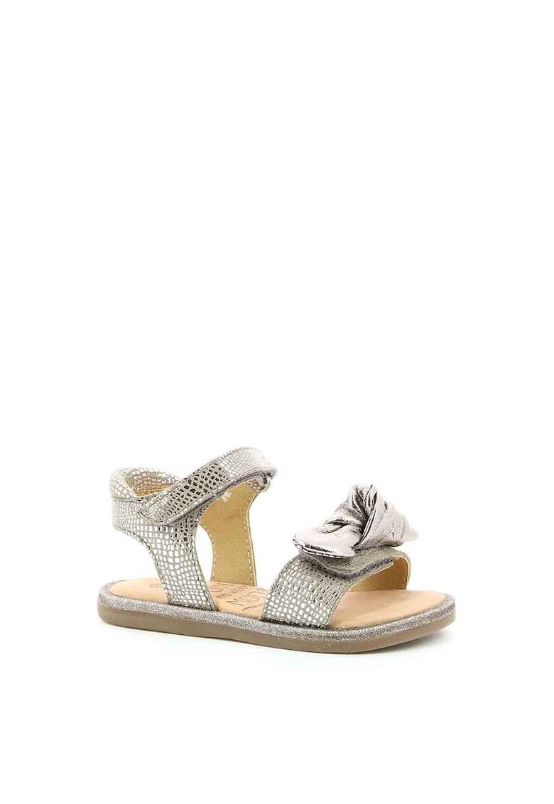 Sandale de piele cu funda decorativa
