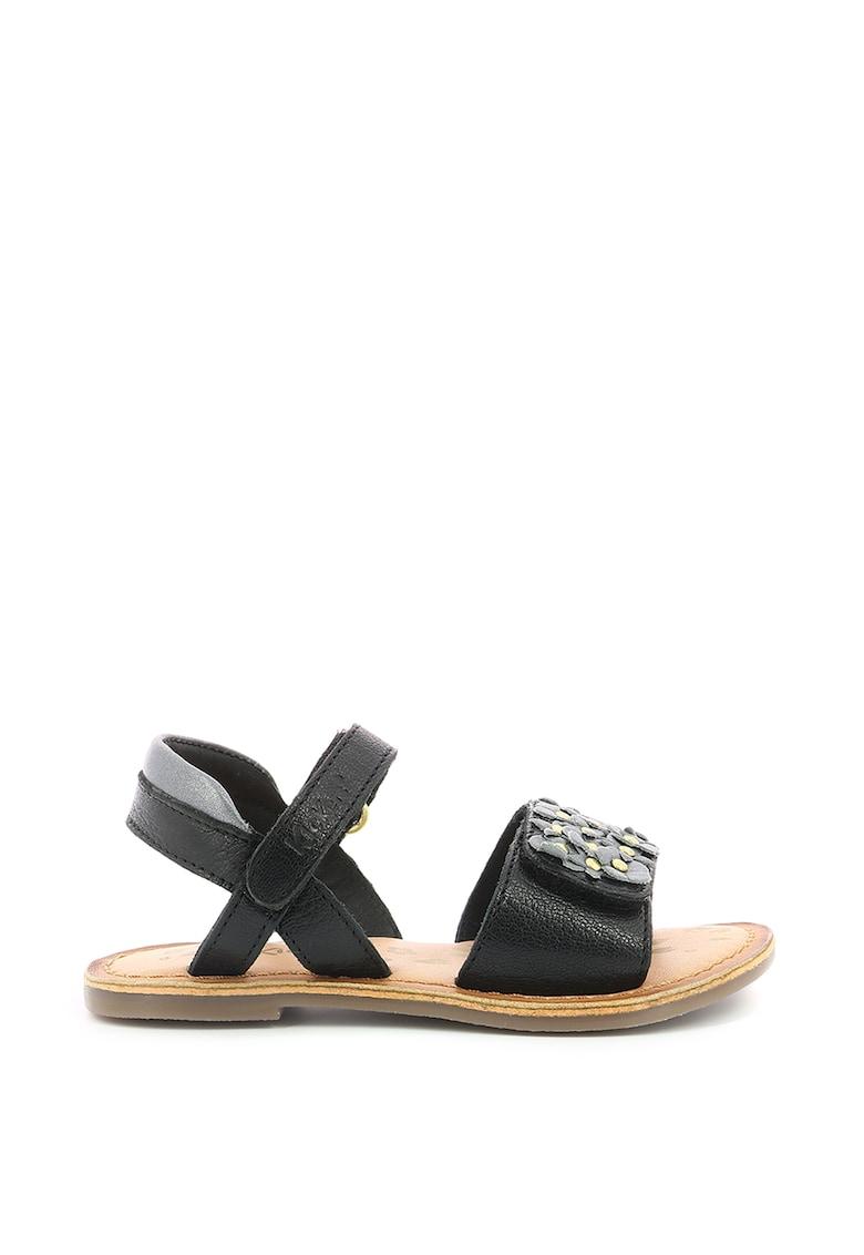 Sandale din piele cu aplicatii florale Kickers kids fashiondays.ro
