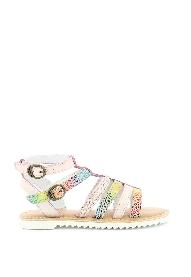 Sandale din piele cu model colorblock poza fashiondays