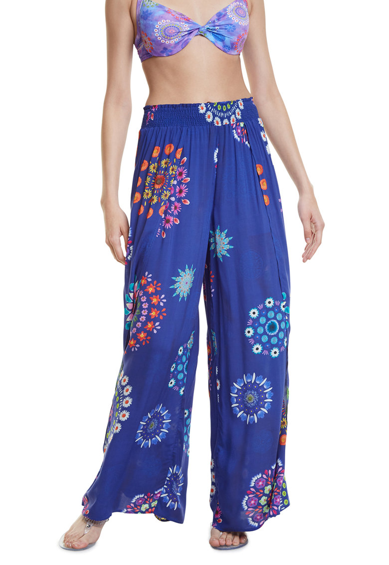 Pantaloni evazati de plaja cu imprimeu floral