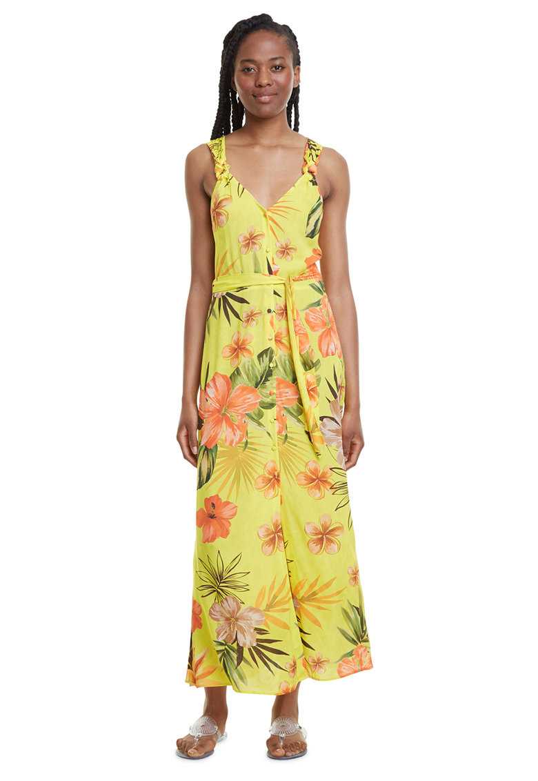 Rochie maxi de plaja cu imprimeu floral imagine fashiondays.ro