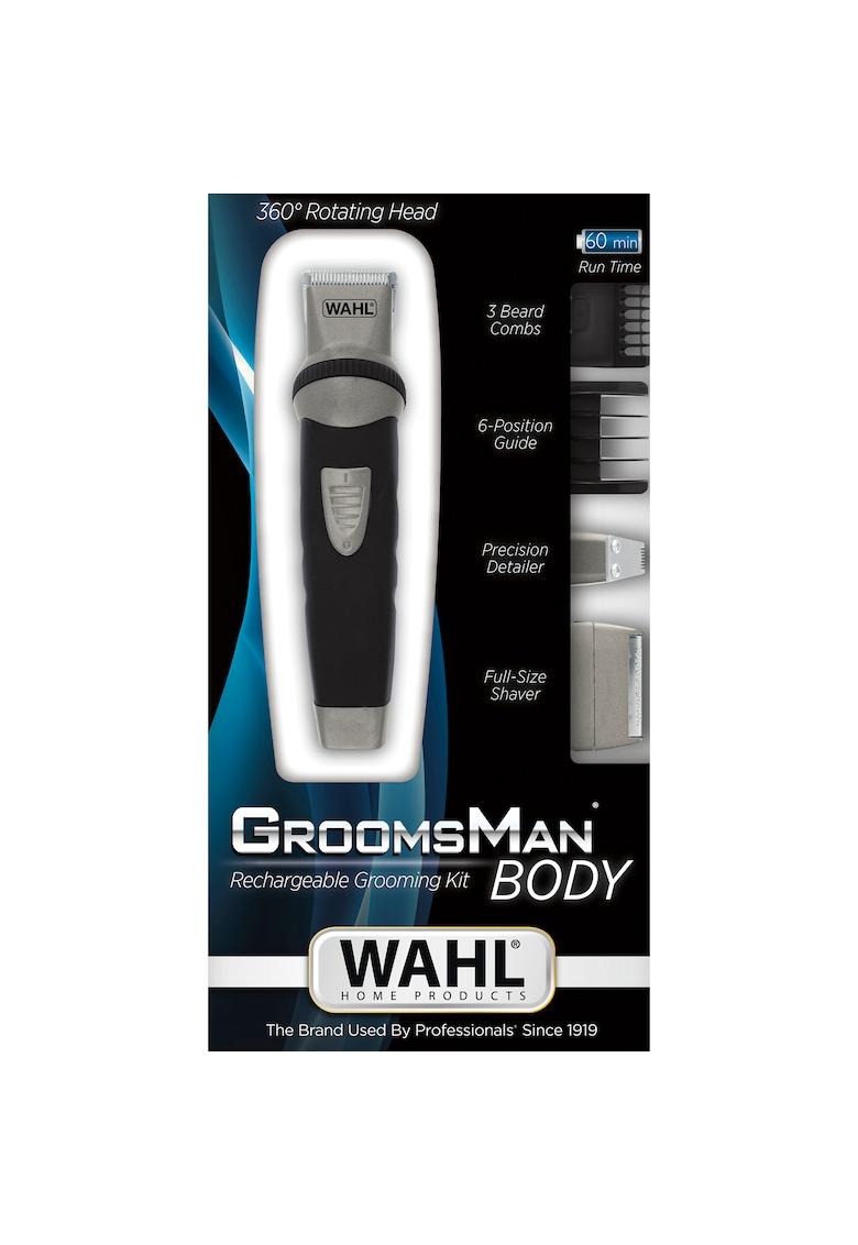 Aparat de tuns corporal si ingrijit barba GroomSman - - alimentare acumulator - lame otel cu autoascutire - 2 capete ghidare - 3-16 mm - negru fashiondays.ro