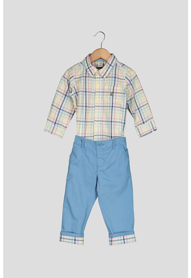 Set de camasa tip body si pantaloni chino