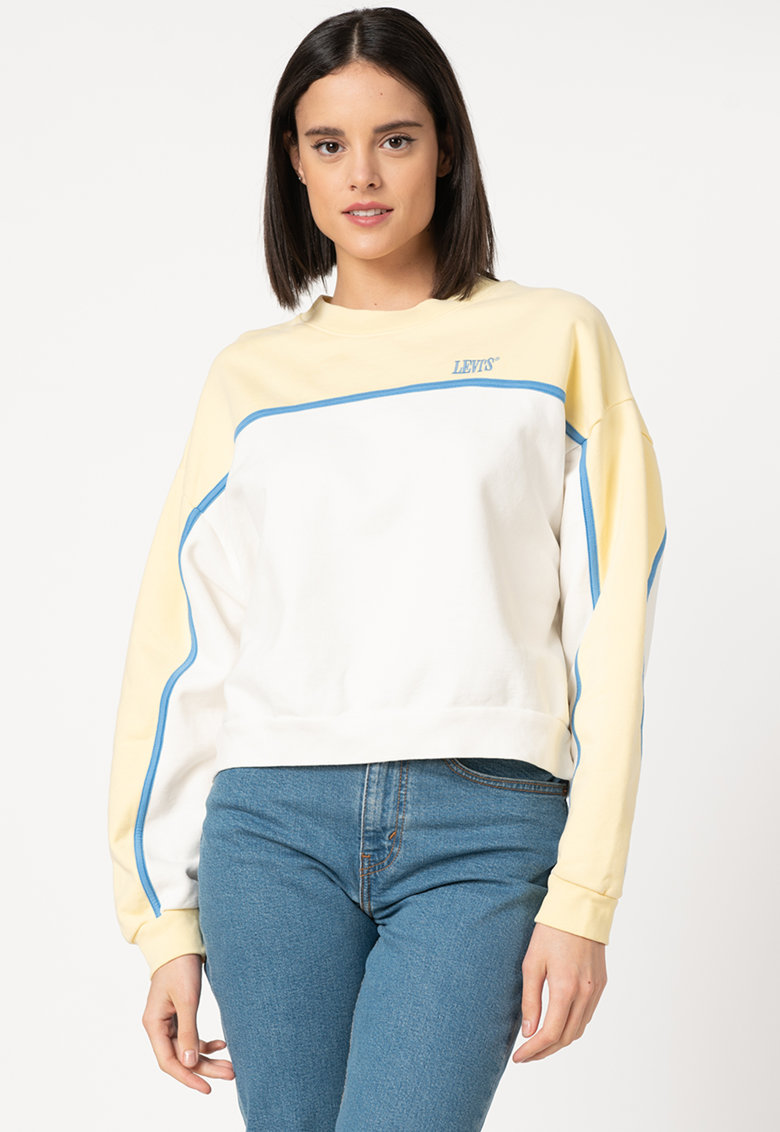 Bluza sport crop cu broderie logo imagine fashiondays.ro