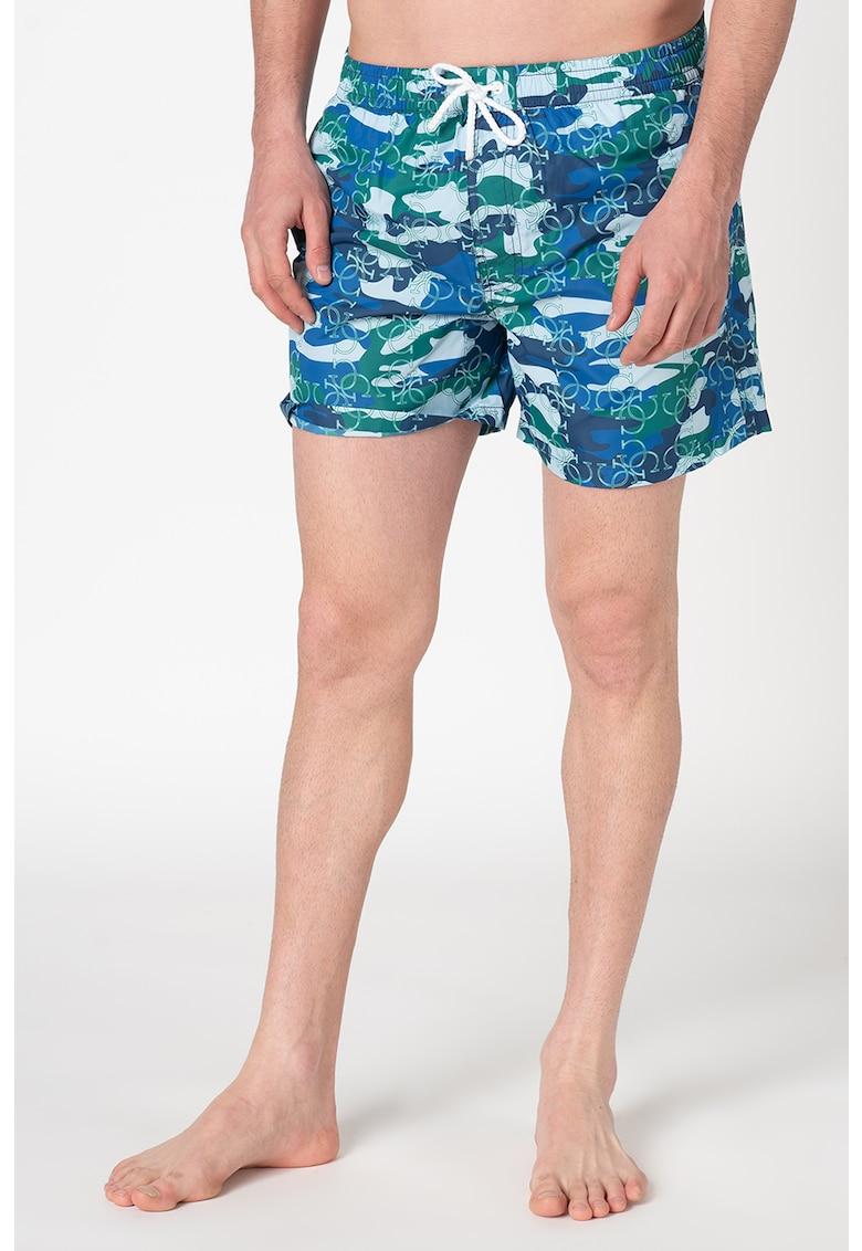 Pantaloni scurti de baie cu imprimeu si buzunare oblice imagine