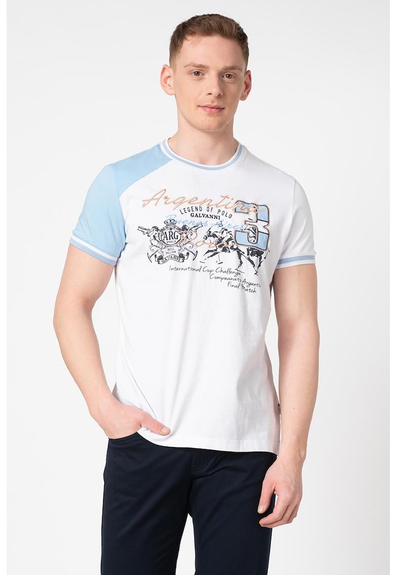 Tricou de bumbac - cu imprimeu text si decolteu la baza gatului Hobro