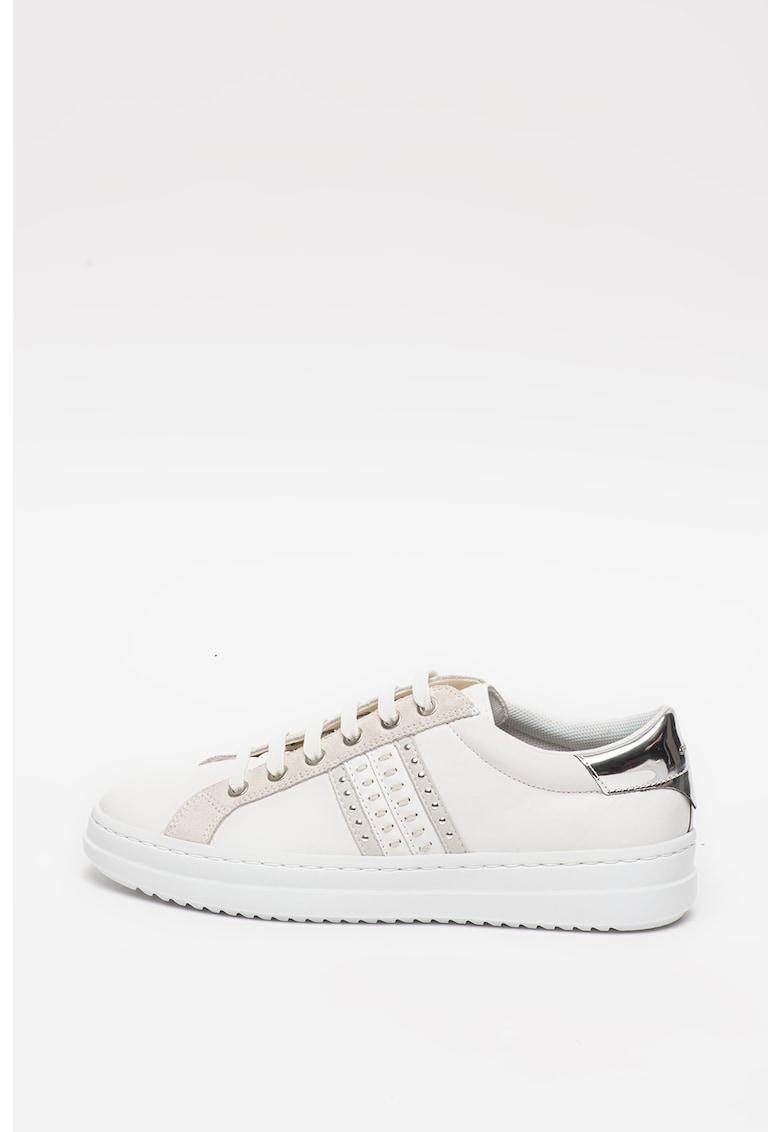 Pantofi sport de piele si piele intoarsa - cu aplicatii din tinte Pontoise