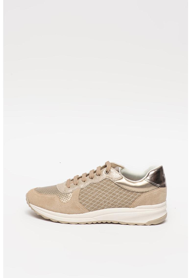 Pantofi sport din piele si piele intoarsa cu insertii din plasa Airell