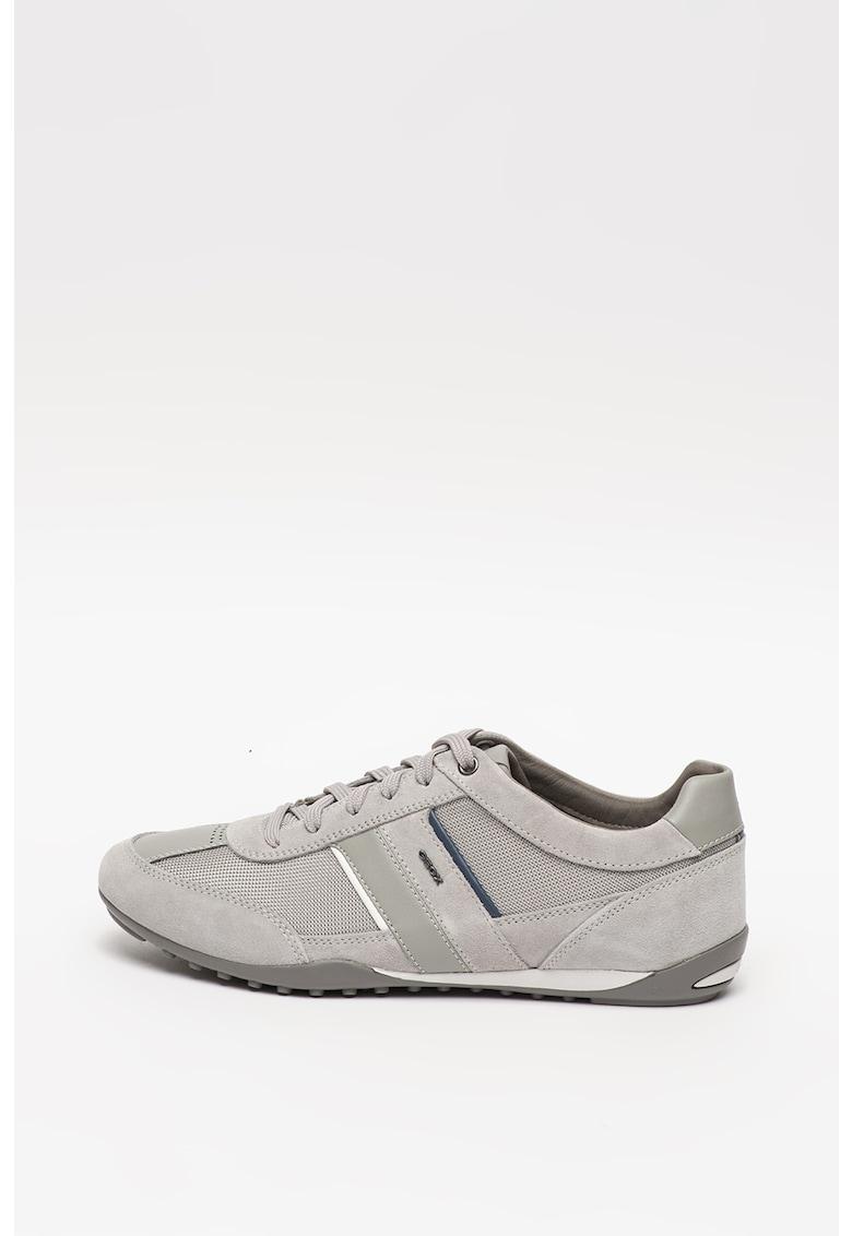 Pantofi sport din material respirabil - cu garnituri din plasa si piele intoarsa Wells
