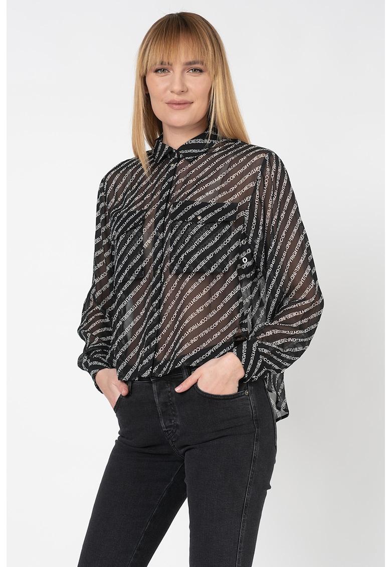 Camasa transparenta cu model logo Superior