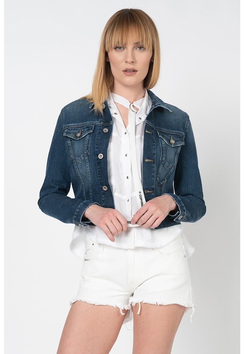 Jacheta din denim cu aspect decolorat Limmy