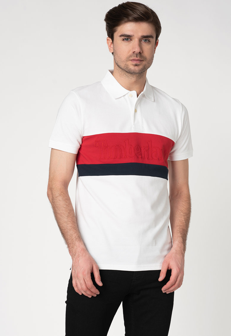 Tricou polo slim fit din bumbac organic