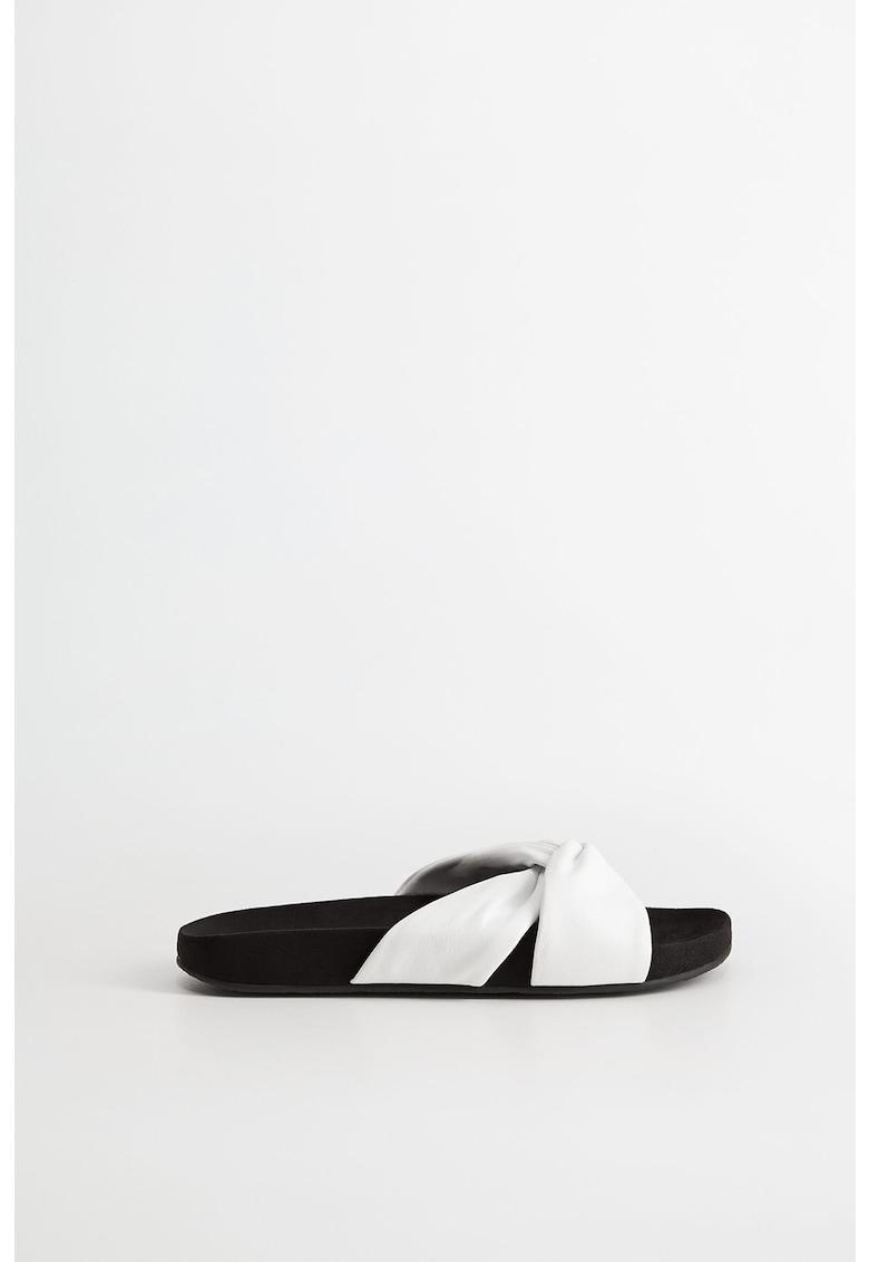 Papuci din piele cu model rasucit Diamante imagine