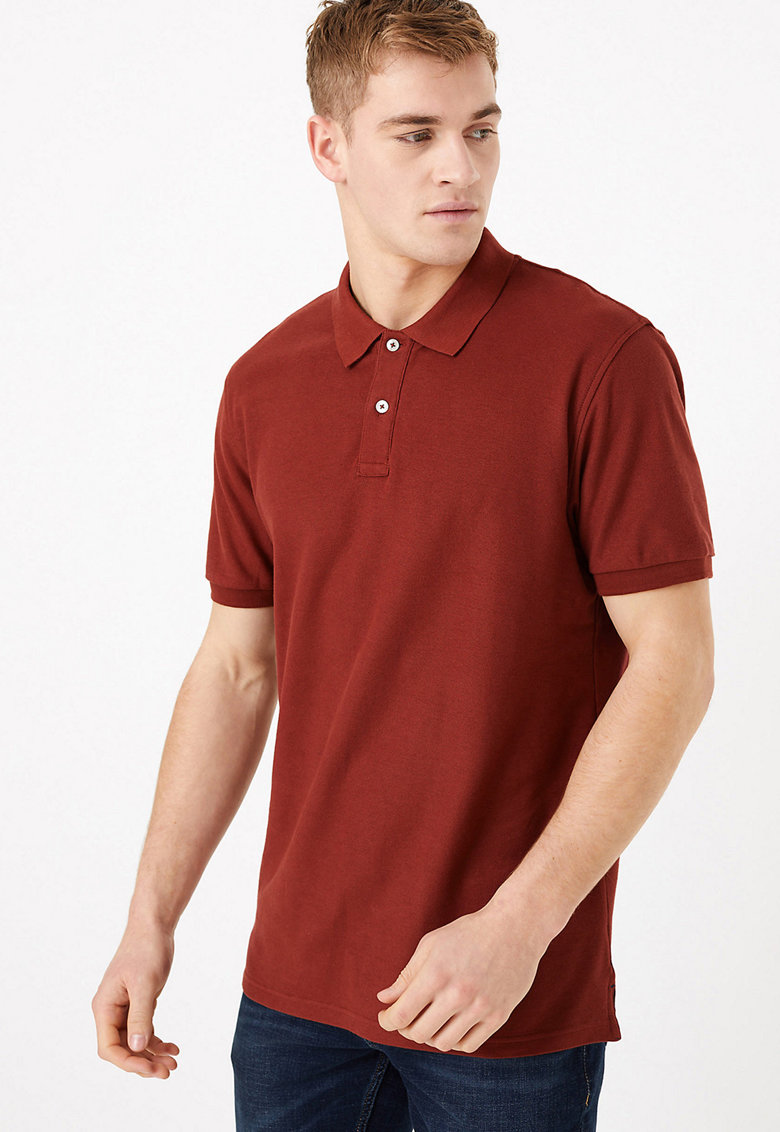 Tricou polo regular fit de bumbac imagine