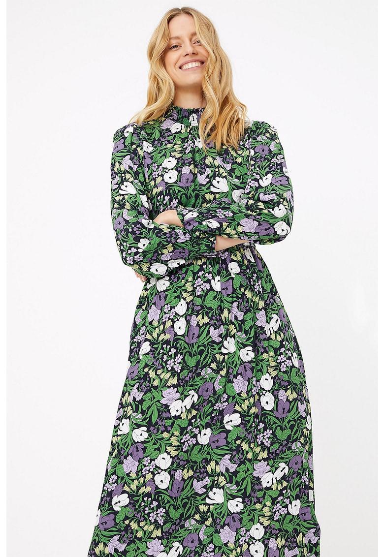 Rochie midi cu imprimeu floral si maneci lungi