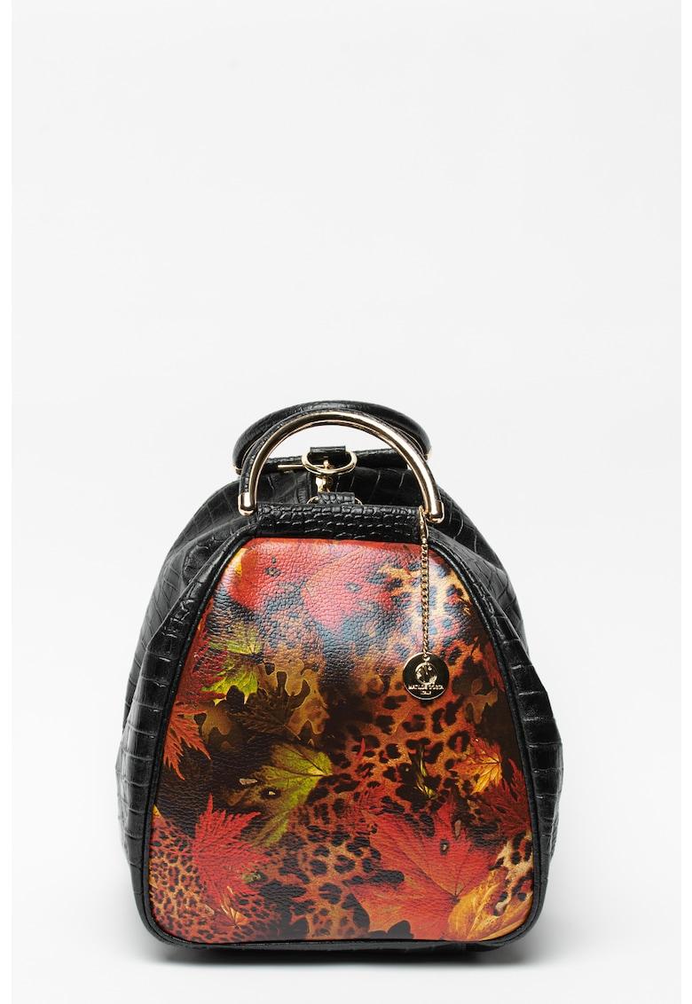 Geanta hobo din piele cu imprimeu cu aspect de piele de crocodil