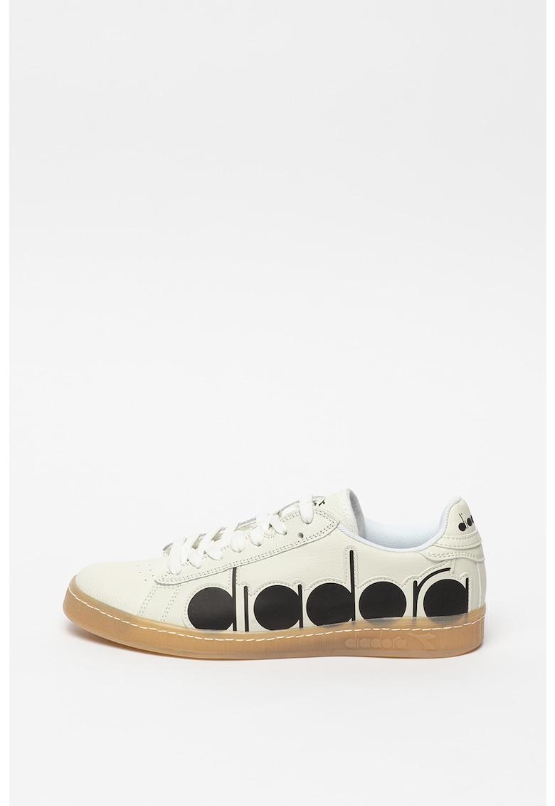 Pantofi sport din piele si piele ecologica cu aplicatie logo Game Bolder