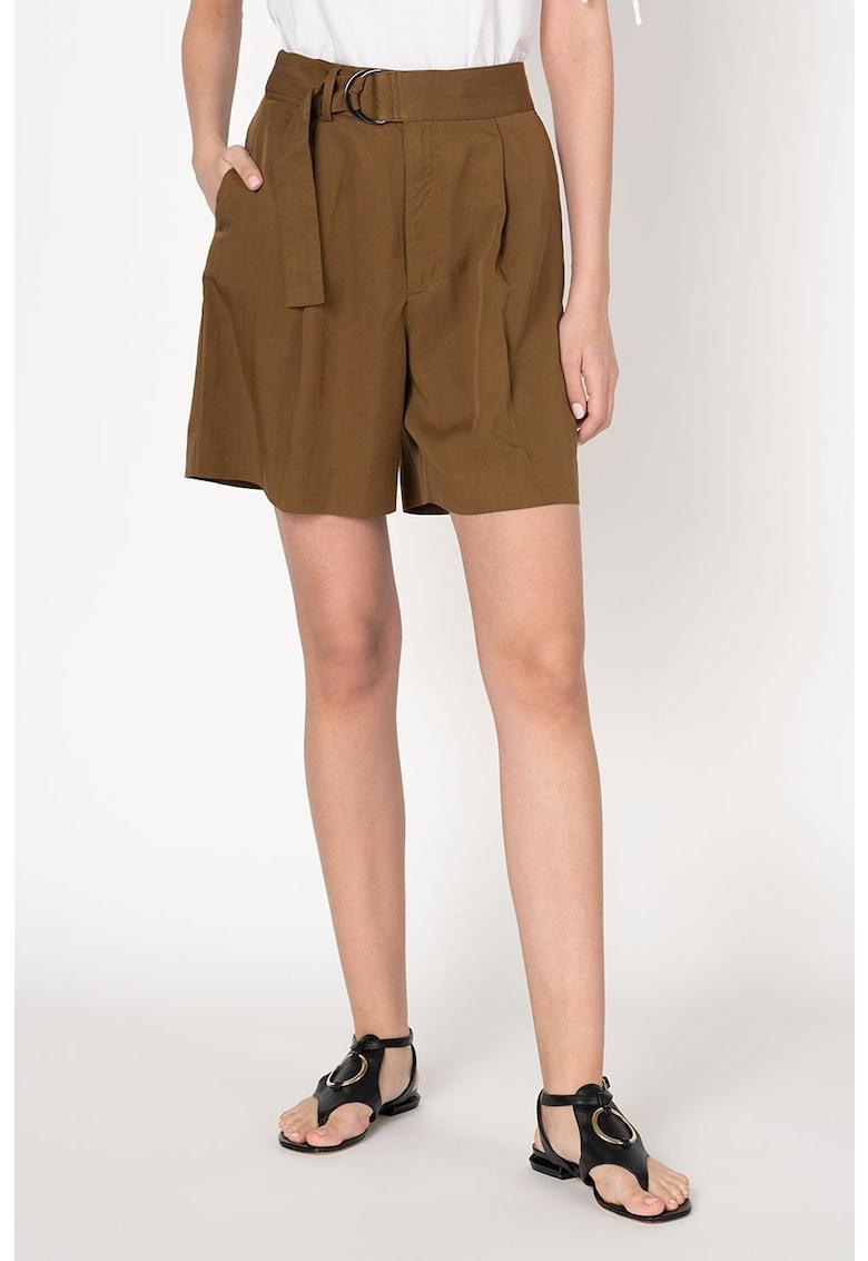 Pantaloni scurti din material vaporos cu talie inalta