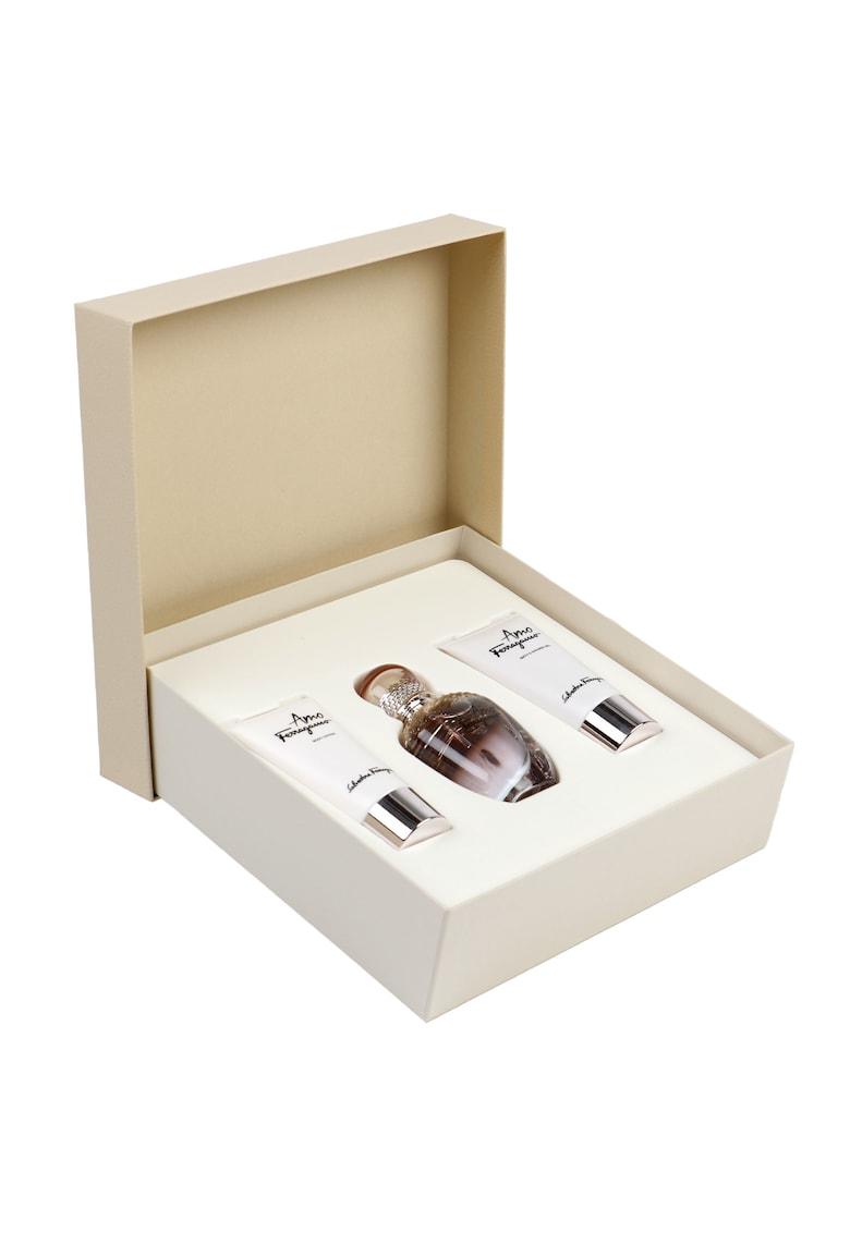 Set Amo Ferragamo - Femei: Apa de Parfum - 50 ml + Lotiune de corp - 50 ml + Gel de dus - 50 ml