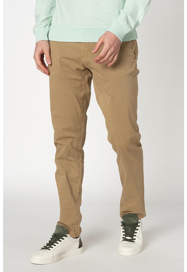 Pantaloni chino conici cu imprimeu imagine
