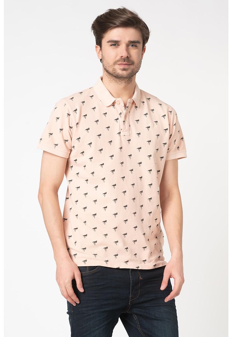 Tricou polo din bumbac cu imprimeu flamingo imagine