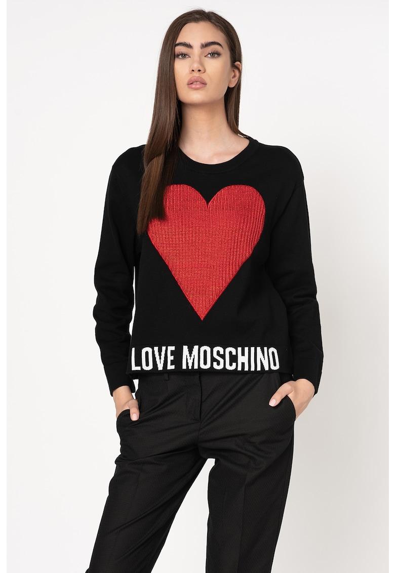 Pulover tricotat fin cu aplicatie texturata in forma de inima