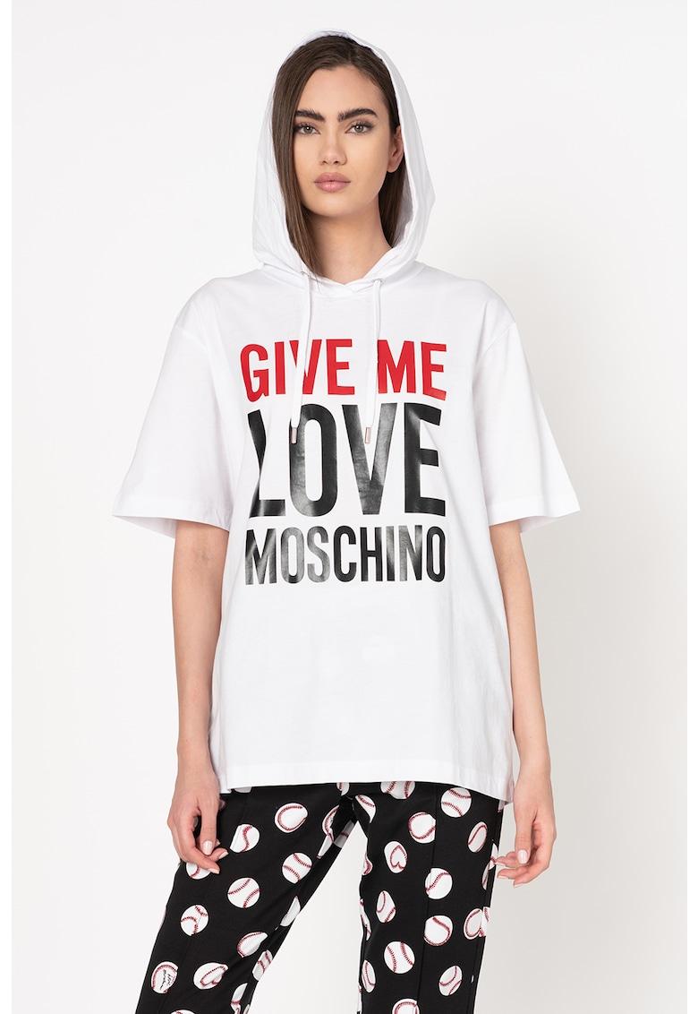 Tricou lejer cu gluga si imprimeu logo Love Moschino fashiondays.ro