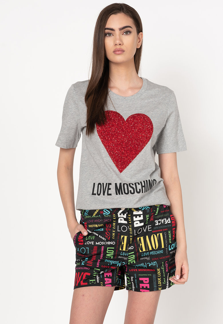 Tricou cu imprimeu logo si aplicatii cu strasuri
