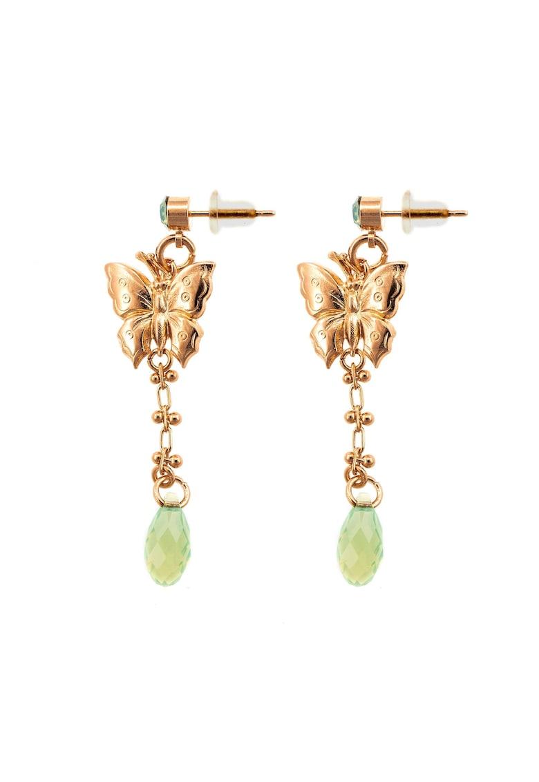 Fern 24k Gold Plated Long Drop Earrings With Butterfly Motifs