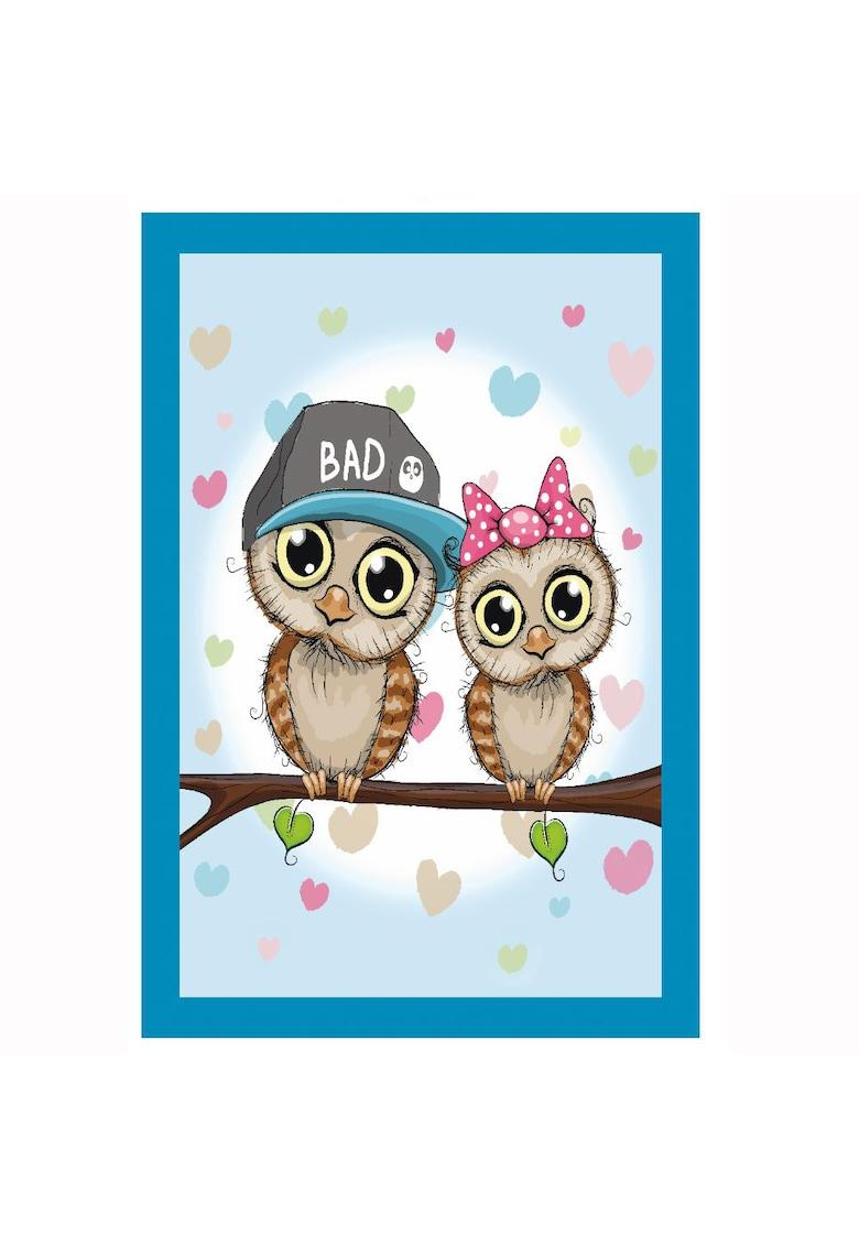 Covor cu print digital Owls - 100% bumbac - Multicolor poza fashiondays